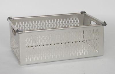 ZARGES Transportkorb aus Aluminium - Inhalt 86 l - mit eingesetzten Aluminiumguss-Stapelecken