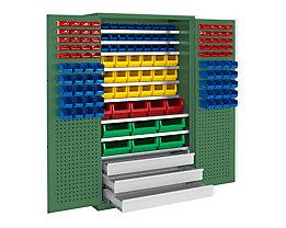 mauser Großraumschrank - 9 Fachböden, 142 Sichtlagerkästen, 3 Schubladen