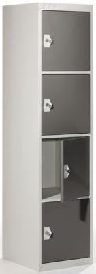 QUIPO Schließfachschrank mit 4 Einzelschließfächern - HxBxT 1800 x 450 x 500 mm