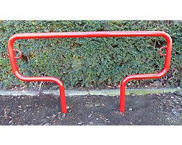 Fahrradanlehnbügel, 850 mm über Flur - zum Einbetonieren, farbig beschichtet - T-förmig, Länge 1500 mm