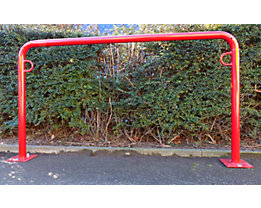 Fahrradanlehnbügel, 850 mm über Flur - zum Aufdübeln, farbig beschichtet - U-förmig, Länge 1500 mm
