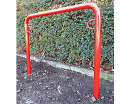 Fahrradanlehnbügel, 850 mm über Flur - zum Einbetonieren, farbig beschichtet - U-förmig, Länge 1250 mm