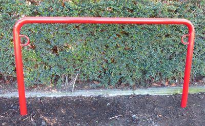 Fahrradanlehnbügel, 850 mm über Flur - zum Einbetonieren, farbig beschichtet