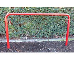 Fahrradanlehnbügel, 850 mm über Flur - zum Einbetonieren, farbig beschichtet - U-förmig, Länge 1500 mm