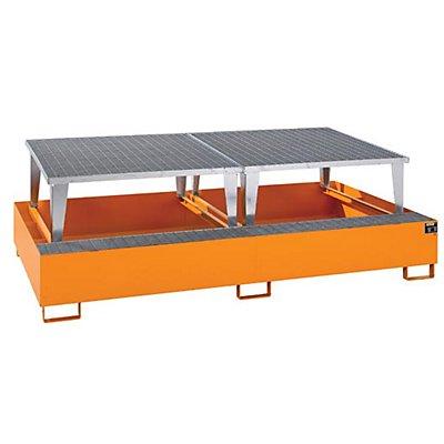 BAUER Stahl-Auffangwanne für Tankcontainer - LxBxH 2650 x 1460 x 863 mm, mit 2 Abfüllaufsätzen