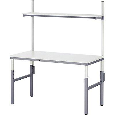 RAU Arbeitsplatz-System, höhenverstellbar von 650 – 1000 mm - Grundtisch mit Etagenbord