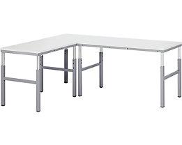 RAU Postes de travail modulaires, réglables en hauteur de 650 à 1000 mm - plateau d'angle avec pied support