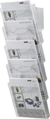 Wand-Prospekthalter A4 - transparent, 5 Fächer für Format DIN A4