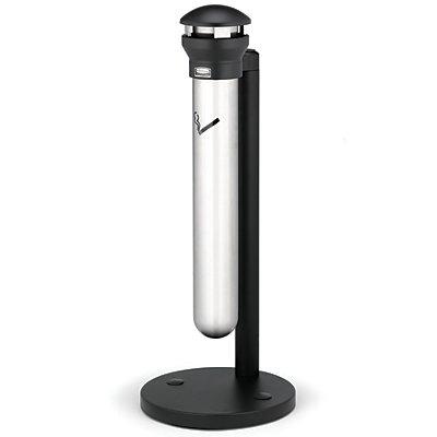 Rubbermaid Edelstahl-Standascher, 4,9 l Fassungsvermögen - Höhe 1000 mm, Ø 400 mm - silber / schwarz