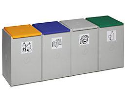 Wertstoff-Trenn- und Sammelbehälter - als 4-fach Sammelstation - für 60 l, Breite 1410 mm