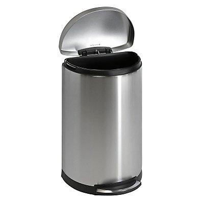 WALL Edelstahl-Pedalabfallsammler - halbrund - Volumen 40 l, inkl. Kunststoff-Innenbehälter