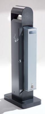 Aschersäule aus Stahlblech - Volumen 12,5 l, HxBxT 1000 x 200 x 150 mm - anthrazitgrau