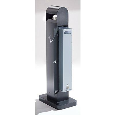 Cendrier-colonne en tôle d'acier - capacité 12,5 l, h x l x p 1000 x 200 x 150 mm - anthracite