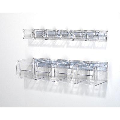 mauser Wandschiene mit Sichtlagerkästen - glasklar, Länge 600 mm