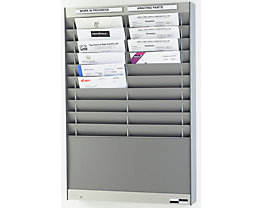 Dokumentensortiertafel - 2 x 10 Fächer, DIN A4, Dokumentenlage vertikal - alusilber