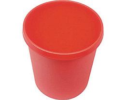 helit Kunststoff-Papierkorb - Inhalt 18 l, Höhe 320 mm, VE 6 Stk - rot, VE 6 Stk