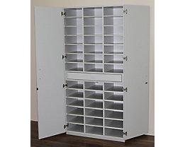 office akktiv Sortierschrank mit Flügeltüren und Sortiertisch - HxBxT 1864 x 913 x 440 mm, 39 Fächer - lichtgrau RAL 7035