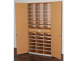office akktiv Sortierschrank mit Flügeltüren und Sortiertisch - HxBxT 1864 x 913 x 440 mm, 39 Fächer - Buche-Dekor