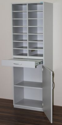 office akktiv Sortierstation, schmal - HxBxT 1864 x 615 x 440 mm, 14 Fächer DIN A4