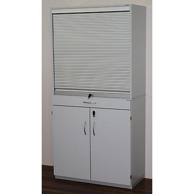 office akktiv Sortierschrank mit Rollladen und Sortiertisch - HxBxT 1864 x 913 x 440 mm, 18 Fächer