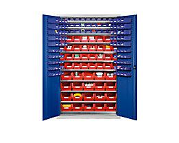 EUROKRAFT Großraumschrank aus Stahlblech - mit 10 Fachböden, 165 Sichtlagerkästen - Korpusfarbe lichtgrau, Türfarbe enzianblau