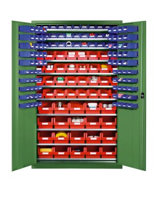 EUROKRAFT Großraumschrank aus Stahlblech - mit 10 Fachböden, 165 Sichtlagerkästen