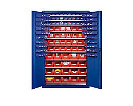 EUROKRAFT Großraumschrank aus Stahlblech - mit 10 Fachböden, 165 Sichtlagerkästen - Korpus- und Türfarbe enzianblau