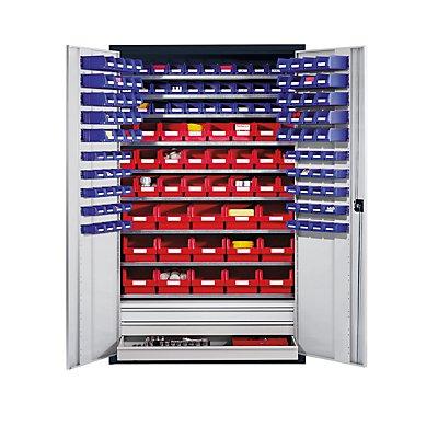 EUROKRAFT Großraumschrank aus Stahlblech - mit 9 Fachböden, 152 Sichtlagerkästen und 3 Schubladen