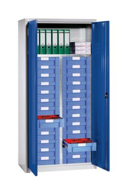 EUROKRAFT Material- und Schubladenschrank - 1 Fachboden, 26 Schubladen