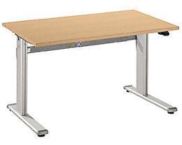 UPLINER Stehschreibtisch, elektrisch höhenverstellbar - 725 – 1185 mm, BxT 1200 x 800 mm - Tischplatte Buche-Dekor
