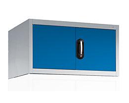 CP Aufsatzschrank mit Flügeltüren - HxBxT 500 x 930 x 500 mm - lichtgrau / lichtblau