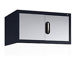CP Aufsatzschrank mit Flügeltüren - HxBxT 500 x 930 x 500 mm - schwarzgrau / weißaluminium