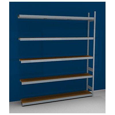 hofe Großfach-Steckregal mit Spanplatten - Höhe 3000 mm, Breite 2500 (2 x 1250) mm, Feldlast 2000 kg - Tiefe 400 mm, Grundregal