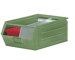 Sichtlagerkasten aus Stahlblech - Inhalt 23 Liter - resedagrün, ab 10 Stk