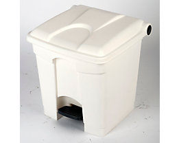 Kunststoff-Tretabfallsammler - 30 Liter Volumen - weiß