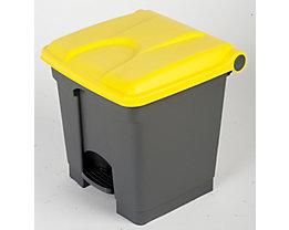 Kunststoff-Tretabfallsammler - 30 Liter Volumen - grau, Deckel gelb