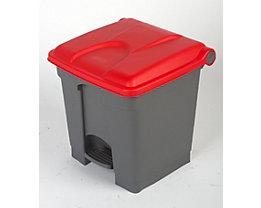 Kunststoff-Tretabfallsammler - 30 Liter Volumen - grau, Deckel rot