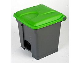 Kunststoff-Tretabfallsammler - 30 Liter Volumen - grau, Deckel grün