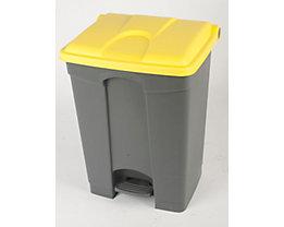 Kunststoff-Tretabfallsammler - 70 Liter - grau, Deckel gelb