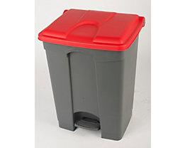 Kunststoff-Tretabfallsammler - 70 Liter - grau, Deckel rot