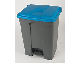 Kunststoff-Tretabfallsammler - 70 Liter - grau, Deckel blau