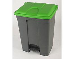 Kunststoff-Tretabfallsammler - 70 Liter - grau, Deckel grün