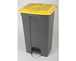 Kunststoff-Tretabfallsammler - HxBxT 790 x 505 x 410 mm, 90 l - grau, Deckel gelb