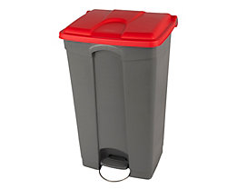 Kunststoff-Tretabfallsammler - HxBxT 790 x 505 x 410 mm, 90 l - grau, Deckel rot