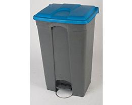 Kunststoff-Tretabfallsammler - HxBxT 790 x 505 x 410 mm, 90 l - grau, Deckel blau