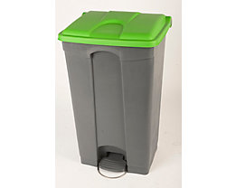 Kunststoff-Tretabfallsammler - HxBxT 790 x 505 x 410 mm, 90 l - grau, Deckel grün