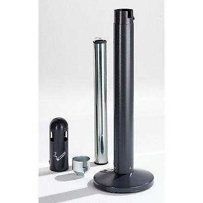 Aschersäule aus Stahlblech - Volumen 3 l, HxBxT 1010 x 100 x 100 mm - anthrazitgrau