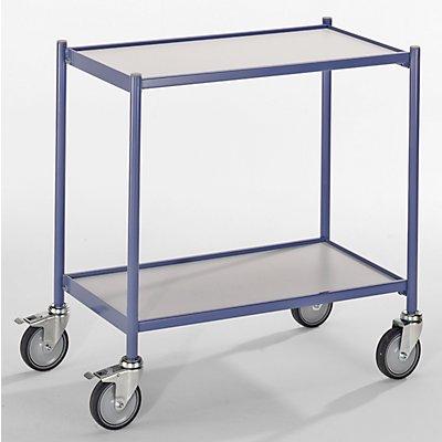 EUROKRAFT Tischwagen, Tragfähigkeit 150 kg - ohne Schiebegriff - 2 Etagen, 4 Lenkrollen, 2 mit Doppelstopp