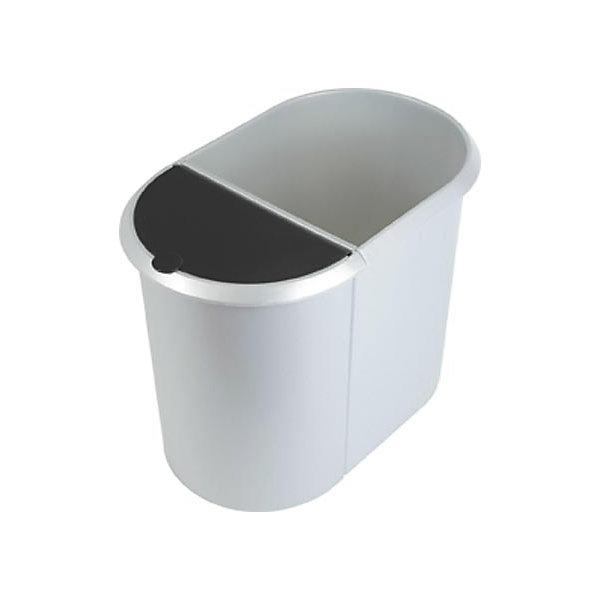 DUO System-Papierkorb - 1 großer Behälter ohne Deckel  1 kleiner Behälter mit Deckel - Deckel schwarz  Korpus silber  VE