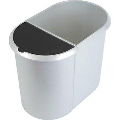 helit DUO helit System-Papierkorb - 1 großer Behälter ohne Deckel, 1 kleiner Behälter mit Deckel